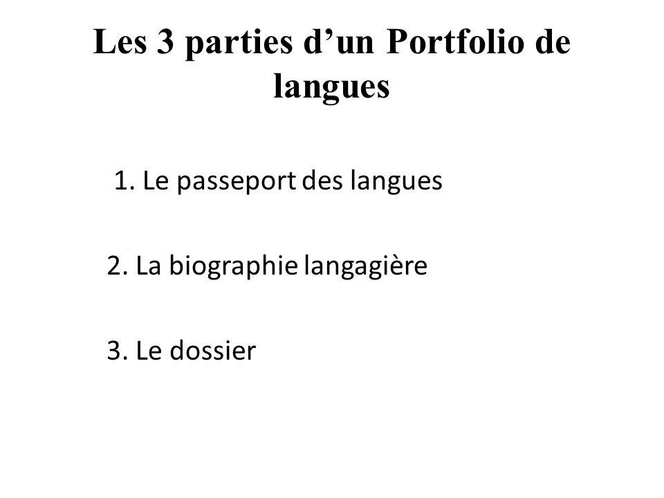 Les 3 parties dun Portfolio de langues 1. Le passeport des langues 2. La biographie langagière 3. Le dossier