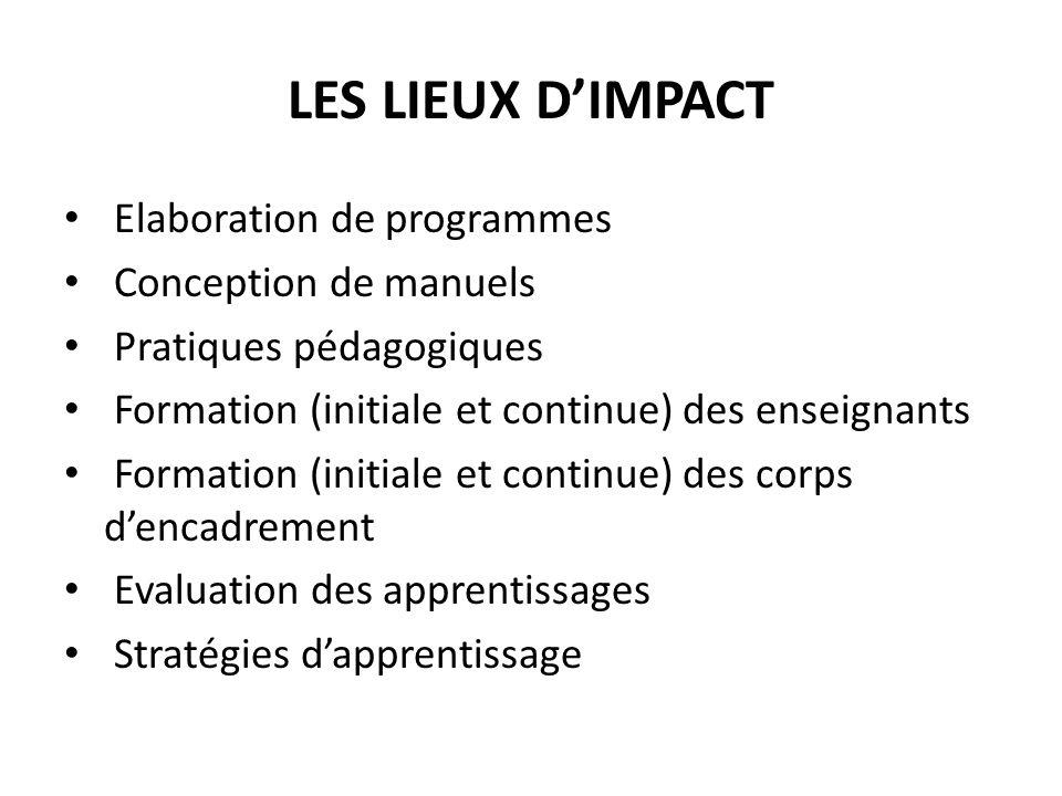 LES LIEUX DIMPACT Elaboration de programmes Conception de manuels Pratiques pédagogiques Formation (initiale et continue) des enseignants Formation (i