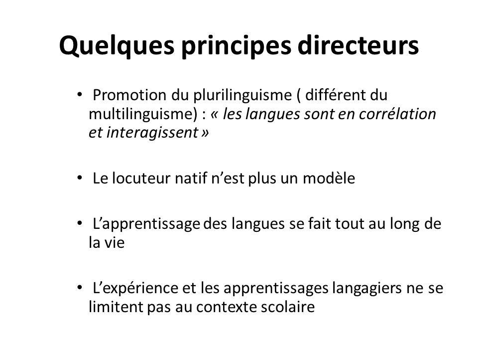 Quelques principes directeurs Promotion du plurilinguisme ( différent du multilinguisme) : « les langues sont en corrélation et interagissent » Le loc