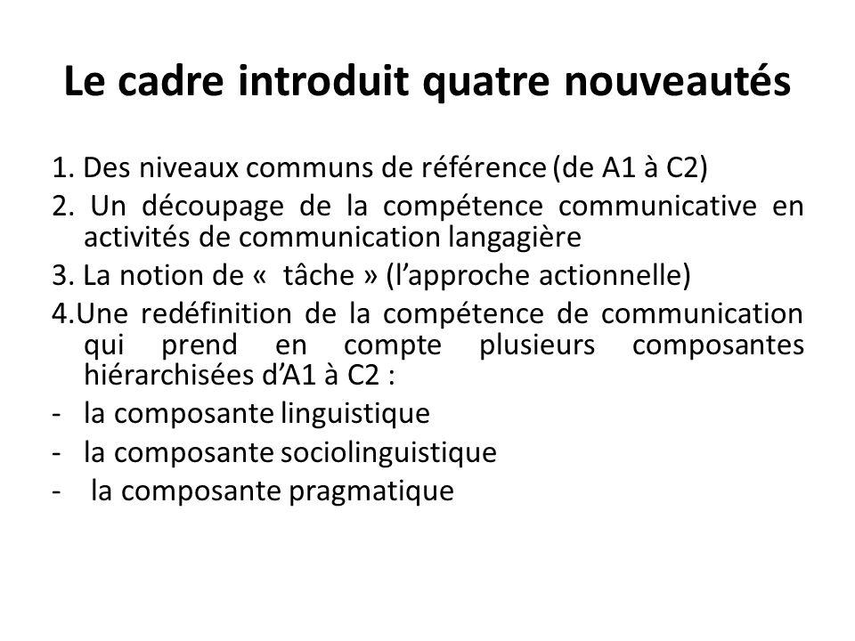 Le cadre introduit quatre nouveautés 1. Des niveaux communs de référence (de A1 à C2) 2. Un découpage de la compétence communicative en activités de c