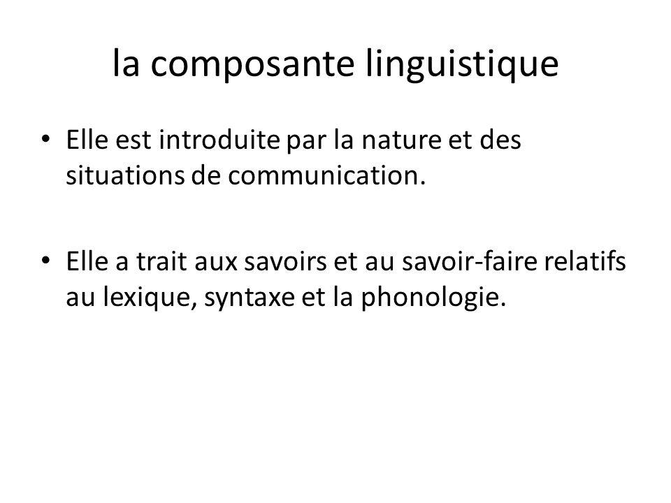 la composante linguistique Elle est introduite par la nature et des situations de communication. Elle a trait aux savoirs et au savoir-faire relatifs