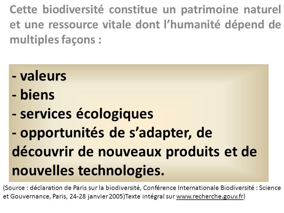 Cette biodiversité constitue un patrimoine naturel et une ressource vitale dont lhumanité dépend de multiples façons : (Source : déclaration de Paris