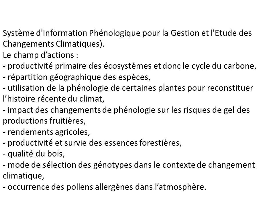 Système d'Information Phénologique pour la Gestion et l'Etude des Changements Climatiques). Le champ dactions : - productivité primaire des écosystème