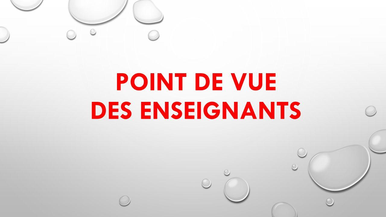 POINT DE VUE DES ENSEIGNANTS