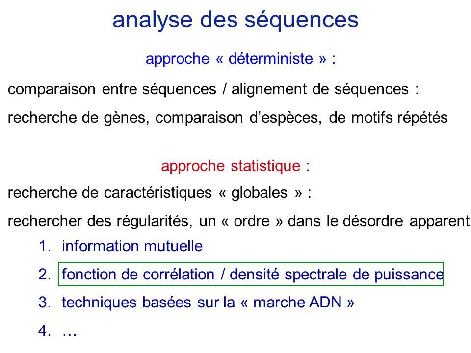 analyse des séquences comparaison entre séquences / alignement de séquences : recherche de gènes, comparaison despèces, de motifs répétés recherche de