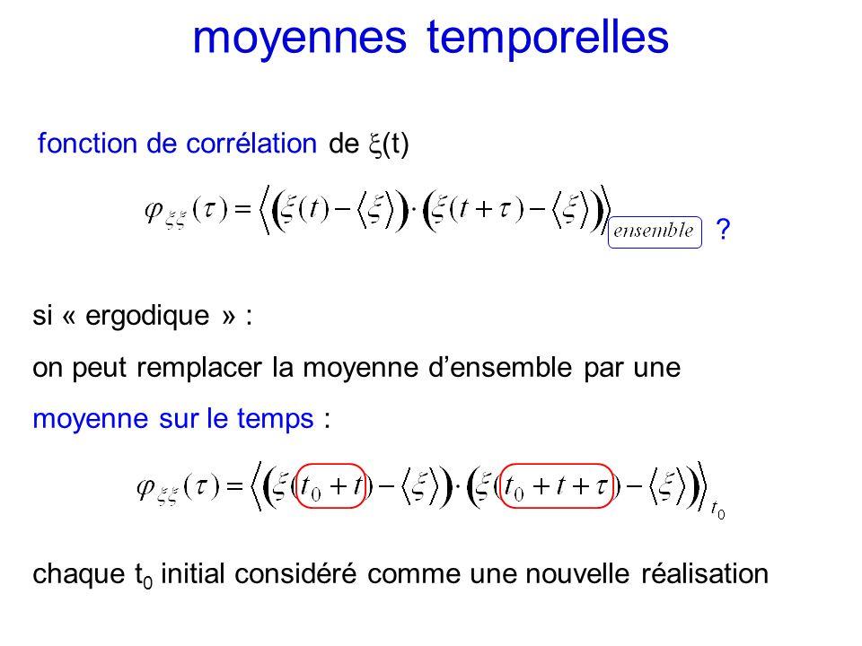 moyennes temporelles fonction de corrélation de (t) si « ergodique » : on peut remplacer la moyenne densemble par une moyenne sur le temps : chaque t
