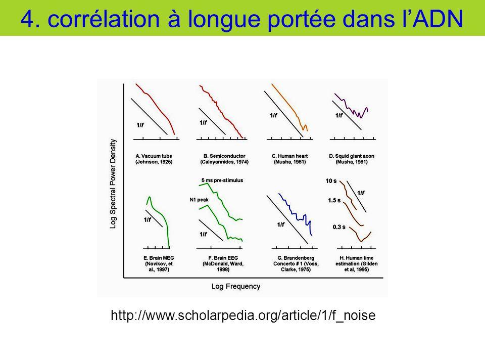 4. corrélation à longue portée dans lADN http://www.scholarpedia.org/article/1/f_noise