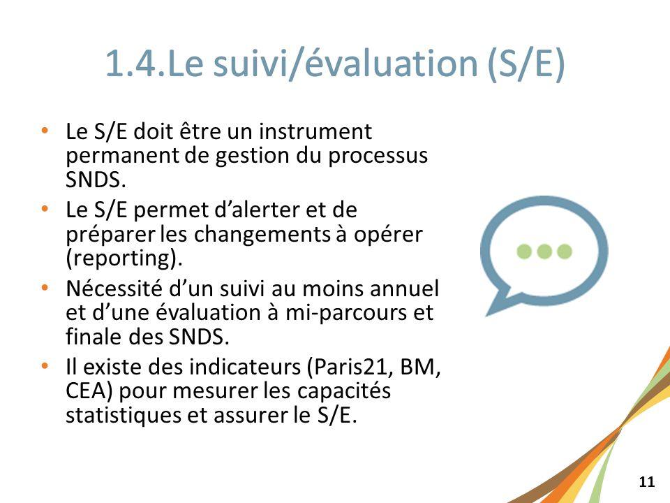11 Le S/E doit être un instrument permanent de gestion du processus SNDS. Le S/E permet dalerter et de préparer les changements à opérer (reporting).