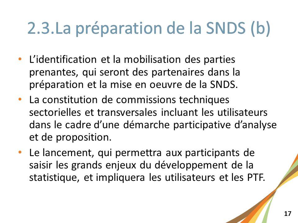 17 Lidentification et la mobilisation des parties prenantes, qui seront des partenaires dans la préparation et la mise en oeuvre de la SNDS. La consti