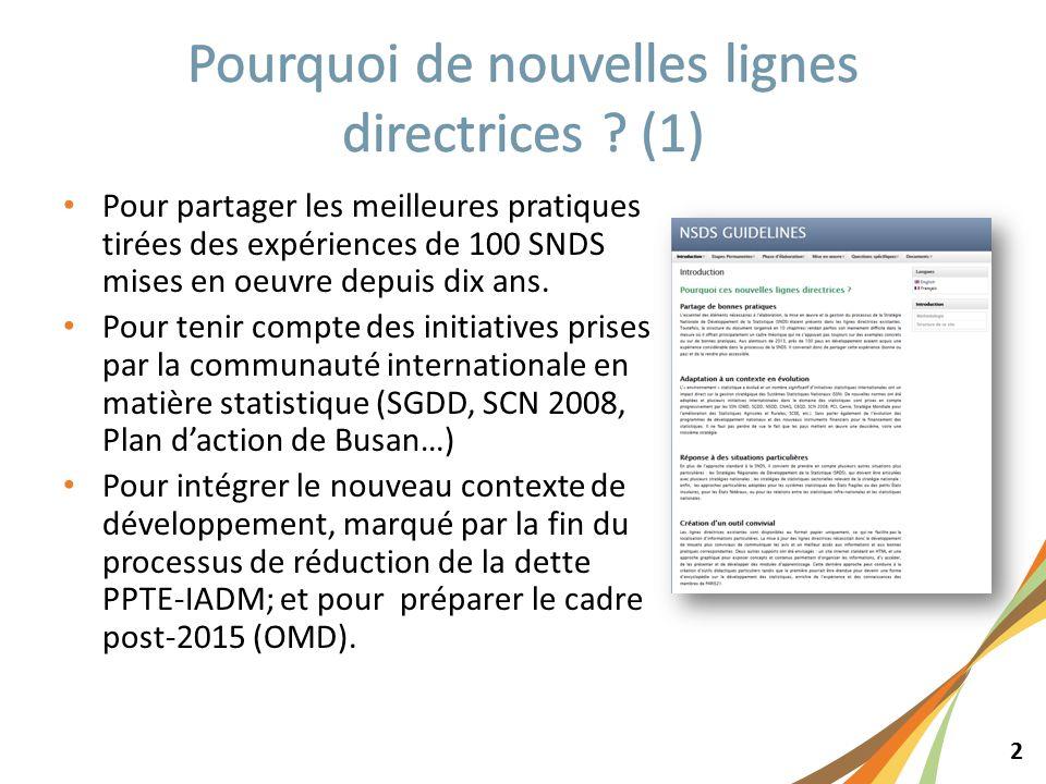 2 Pour partager les meilleures pratiques tirées des expériences de 100 SNDS mises en oeuvre depuis dix ans.
