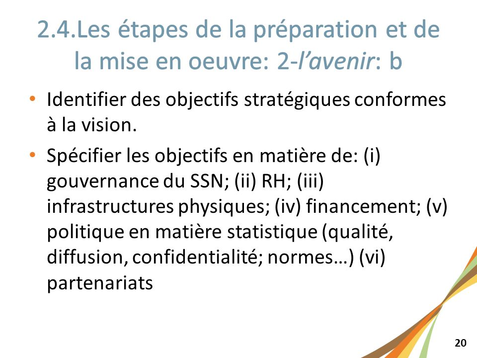 20 Identifier des objectifs stratégiques conformes à la vision. Spécifier les objectifs en matière de: (i) gouvernance du SSN; (ii) RH; (iii) infrastr