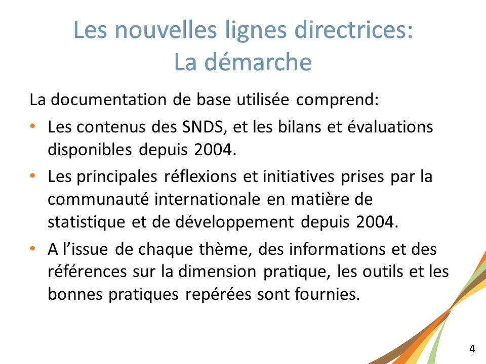 4 La documentation de base utilisée comprend: Les contenus des SNDS, et les bilans et évaluations disponibles depuis 2004. Les principales réflexions
