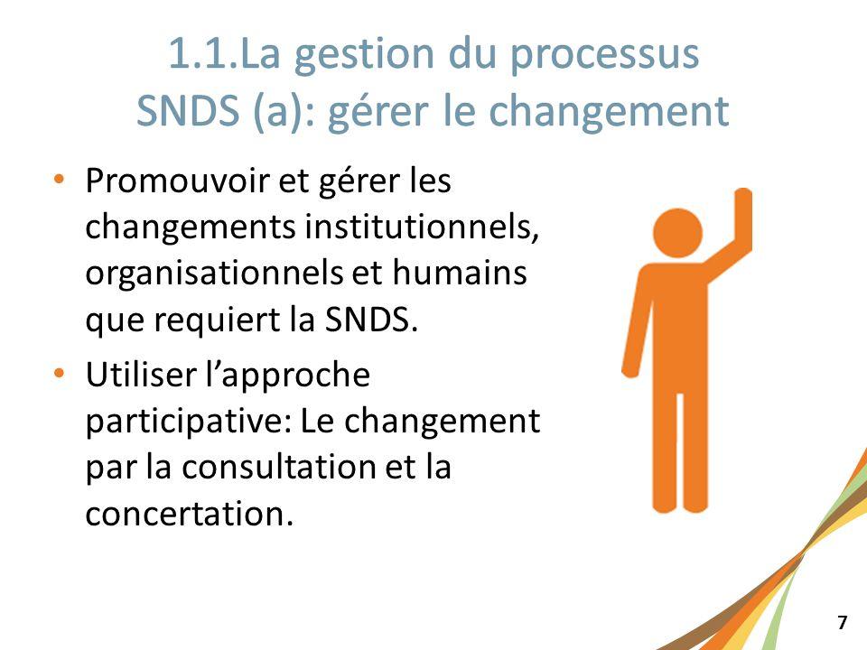 7 Promouvoir et gérer les changements institutionnels, organisationnels et humains que requiert la SNDS. Utiliser lapproche participative: Le changeme