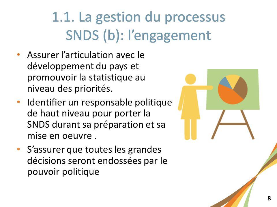 8 Assurer larticulation avec le développement du pays et promouvoir la statistique au niveau des priorités. Identifier un responsable politique de hau