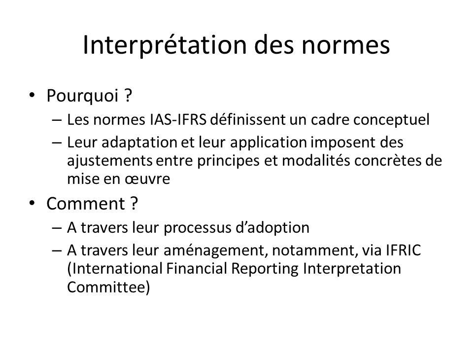 Interprétation des normes Pourquoi ? – Les normes IAS-IFRS définissent un cadre conceptuel – Leur adaptation et leur application imposent des ajusteme