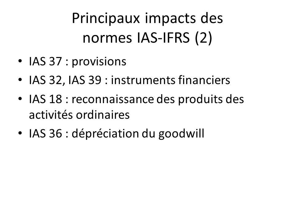 Principaux impacts des normes IAS-IFRS (2) IAS 37 : provisions IAS 32, IAS 39 : instruments financiers IAS 18 : reconnaissance des produits des activi