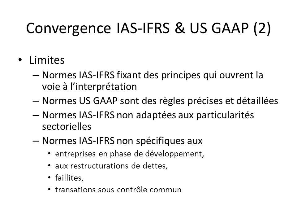 Convergence IAS-IFRS & US GAAP (2) Limites – Normes IAS-IFRS fixant des principes qui ouvrent la voie à linterprétation – Normes US GAAP sont des règl