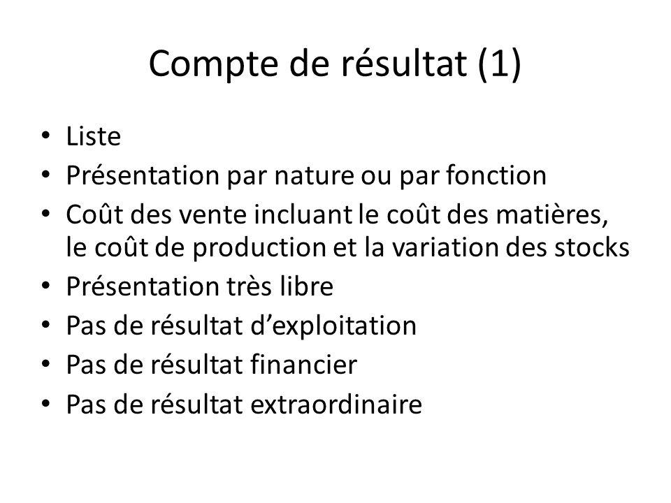 Compte de résultat (1) Liste Présentation par nature ou par fonction Coût des vente incluant le coût des matières, le coût de production et la variati