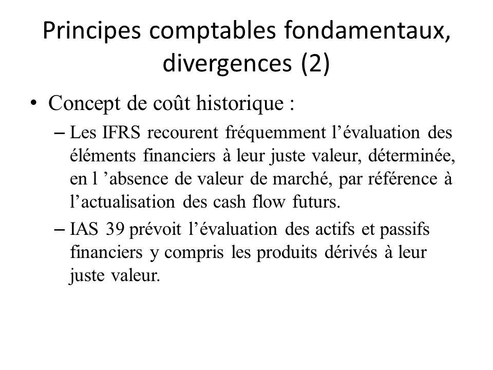 Principes comptables fondamentaux, divergences (2) Concept de coût historique : – Les IFRS recourent fréquemment lévaluation des éléments financiers à