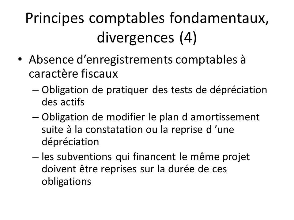 Principes comptables fondamentaux, divergences (4) Absence denregistrements comptables à caractère fiscaux – Obligation de pratiquer des tests de dépr
