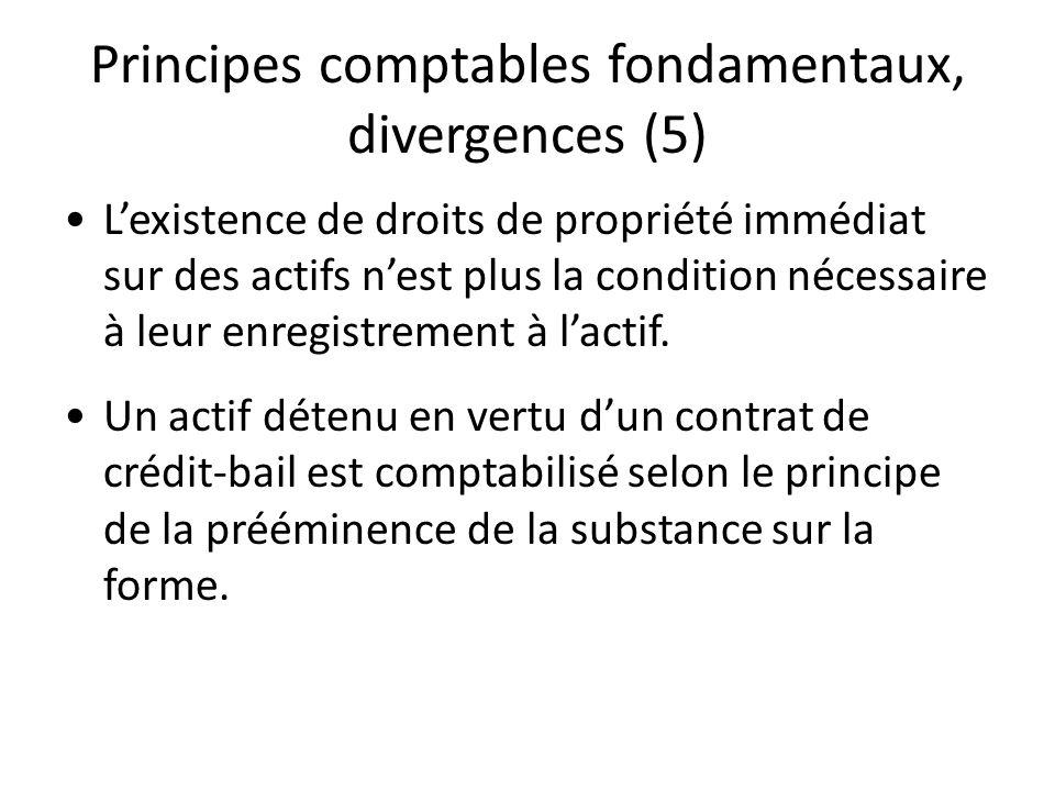 Principes comptables fondamentaux, divergences (5) Lexistence de droits de propriété immédiat sur des actifs nest plus la condition nécessaire à leur
