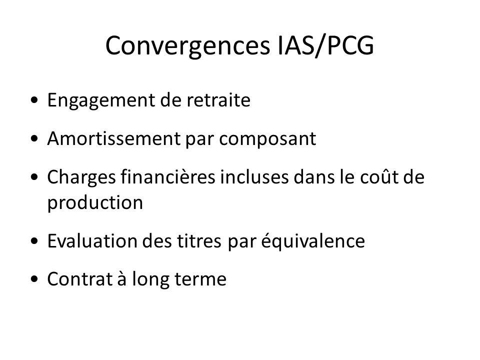 Convergences IAS/PCG Engagement de retraite Amortissement par composant Charges financières incluses dans le coût de production Evaluation des titres