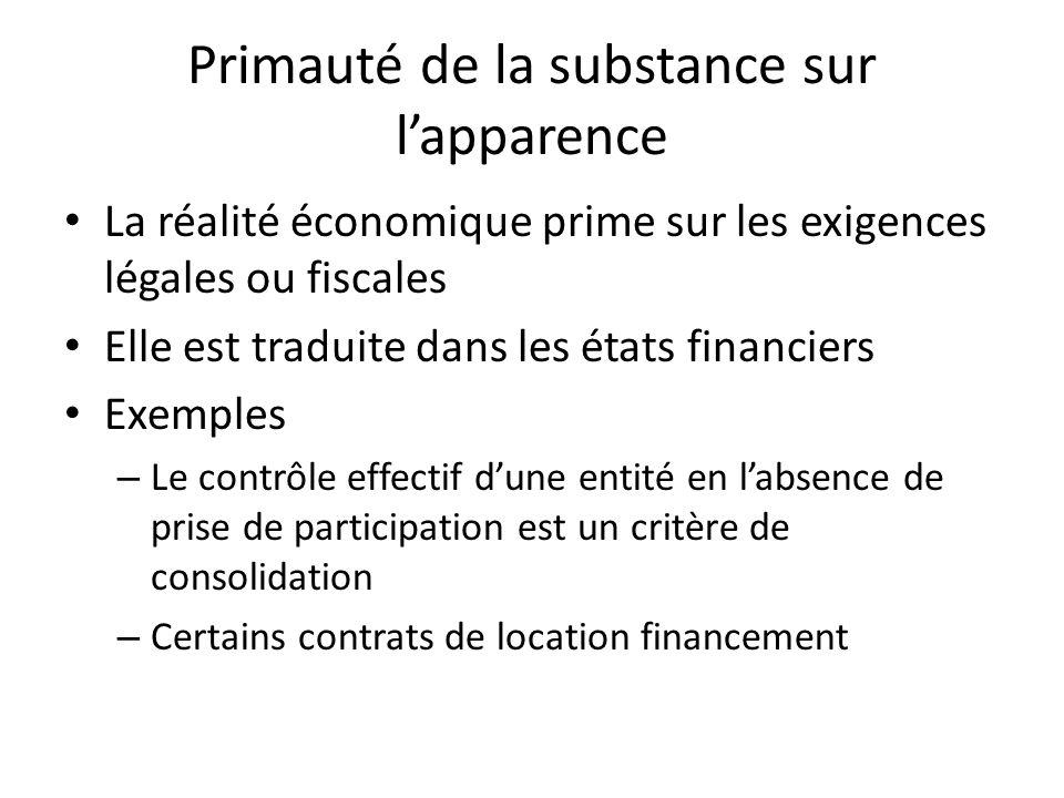 Primauté de la substance sur lapparence La réalité économique prime sur les exigences légales ou fiscales Elle est traduite dans les états financiers