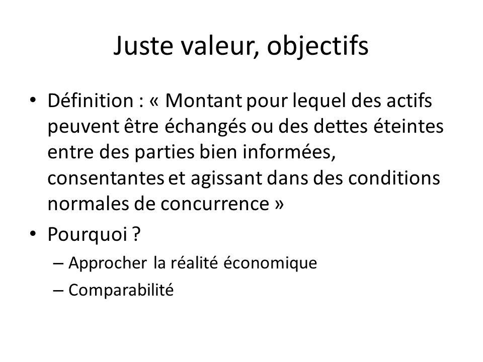 Juste valeur, approches (1) 1 ère approche = Valeur vénale résultant dune vente possible – Mais une valeur nest pas un prix – Tous les biens inscrits dans les états financiers ne sont pas négociables sur un marché