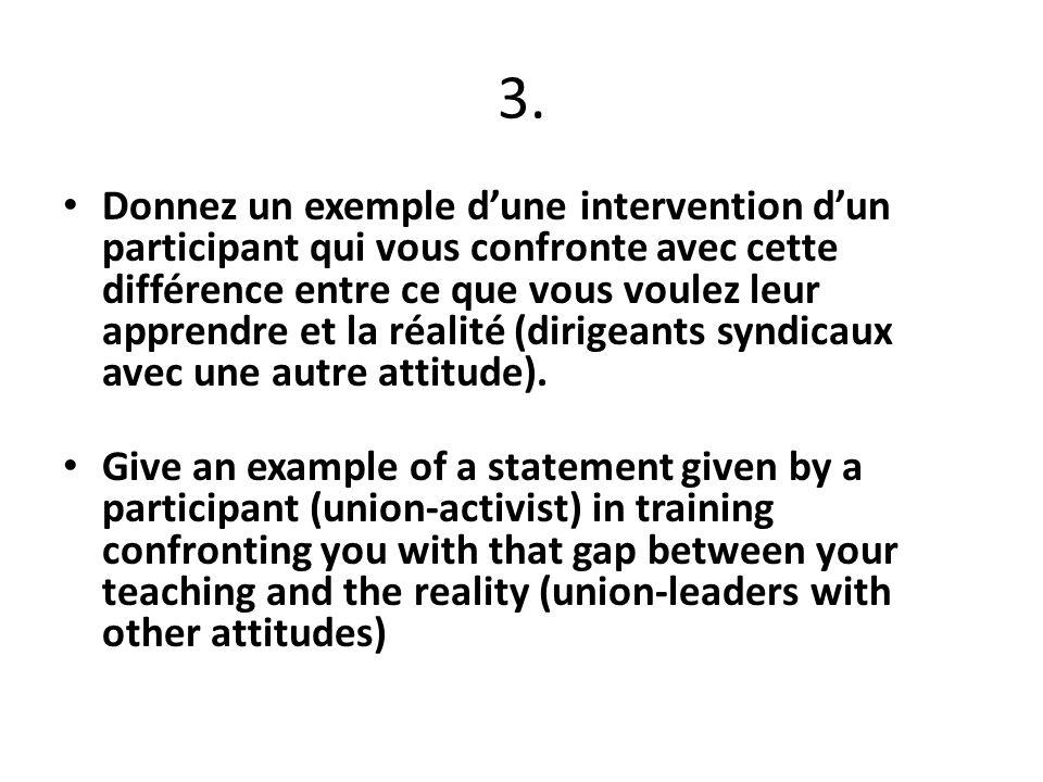 3. Donnez un exemple dune intervention dun participant qui vous confronte avec cette différence entre ce que vous voulez leur apprendre et la réalité
