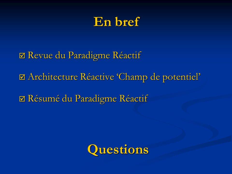 En bref Revue du Paradigme Réactif Revue du Paradigme Réactif Architecture Réactive Champ de potentiel Architecture Réactive Champ de potentiel Résumé