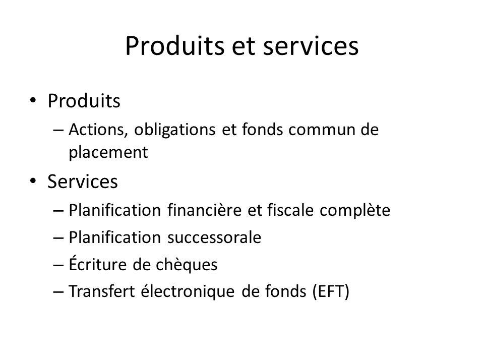 Produits et services Produits – Actions, obligations et fonds commun de placement Services – Planification financière et fiscale complète – Planificat