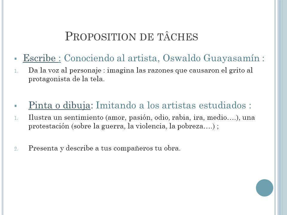 P ROPOSITION DE TÂCHES Escribe : Conociendo al artista, Oswaldo Guayasamín : 1. Da la voz al personaje : imagina las razones que causaron el grito al