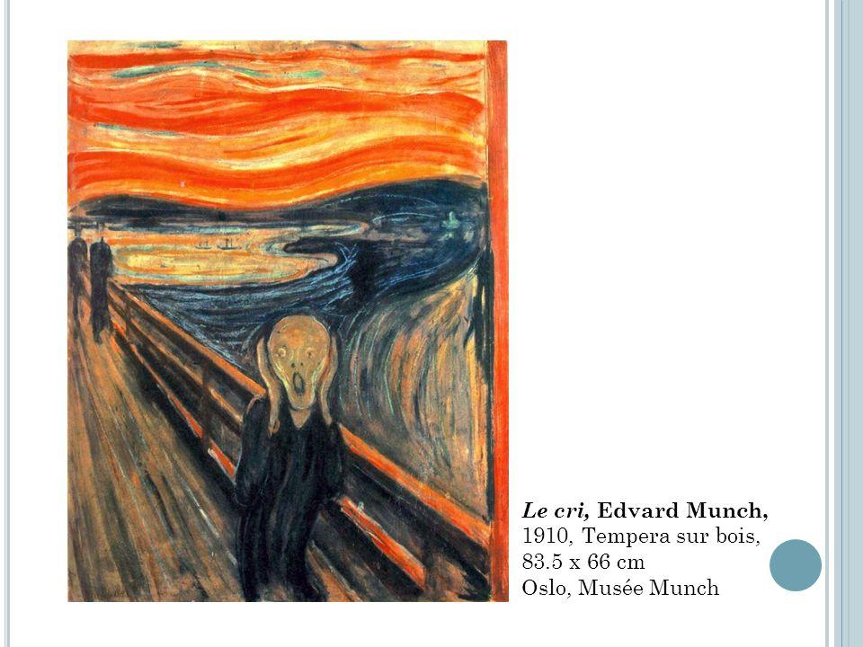 Le cri, Edvard Munch, 1910, Tempera sur bois, 83.5 x 66 cm Oslo, Musée Munch