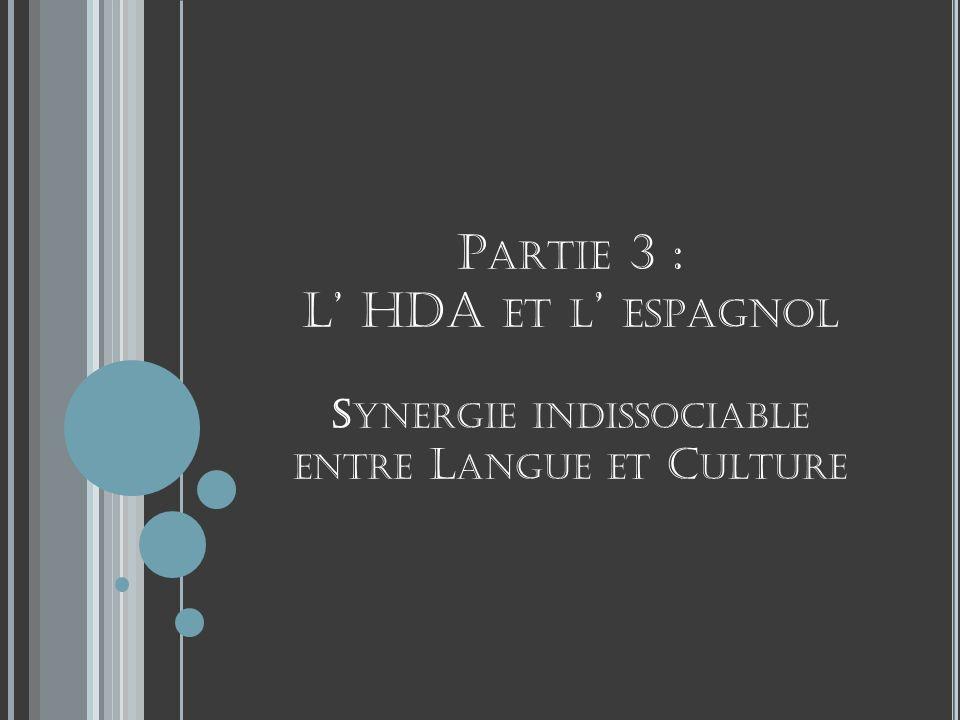 P ARTIE 3 : L HDA ET L ESPAGNOL S YNERGIE INDISSOCIABLE ENTRE L ANGUE ET C ULTURE