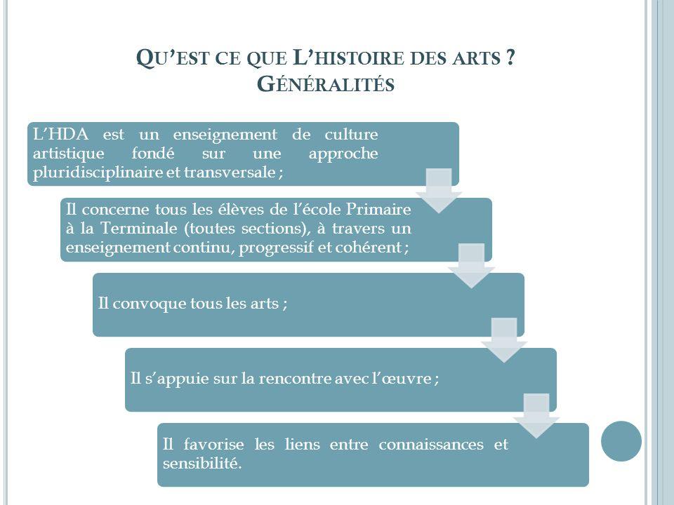 Q U EST CE QUE L HISTOIRE DES ARTS ? G ÉNÉRALITÉS LHDA est un enseignement de culture artistique fondé sur une approche pluridisciplinaire et transver