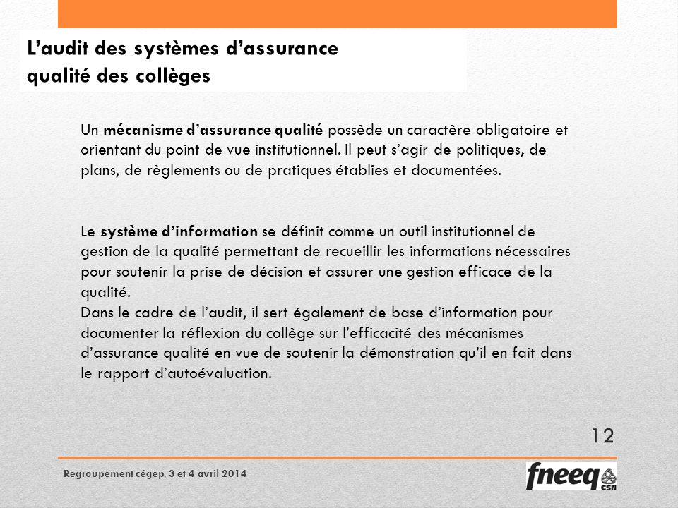 Laudit des systèmes dassurance qualité des collèges Un mécanisme dassurance qualité possède un caractère obligatoire et orientant du point de vue institutionnel.