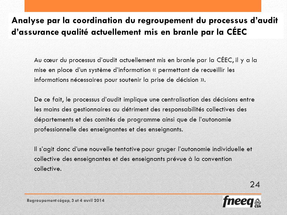Analyse par la coordination du regroupement du processus daudit dassurance qualité actuellement mis en branle par la CÉEC Au cœur du processus daudit actuellement mis en branle par la CÉEC, il y a la mise en place dun système dinformation « permettant de recueillir les informations nécessaires pour soutenir la prise de décision ».