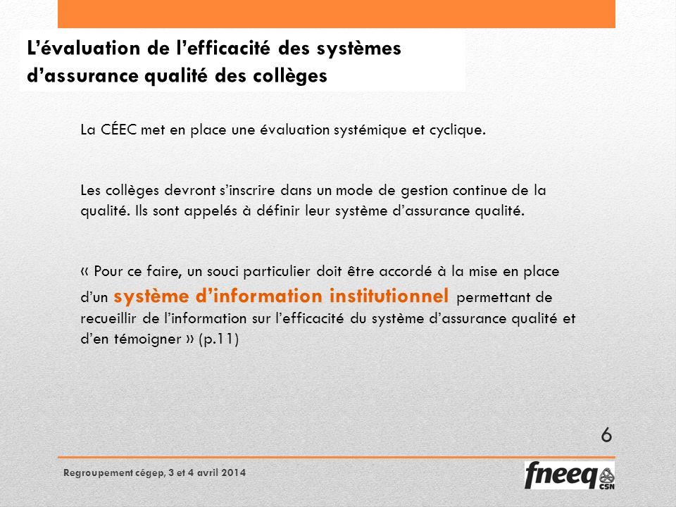 Lévaluation de lefficacité des systèmes dassurance qualité des collèges La CÉEC met en place une évaluation systémique et cyclique.