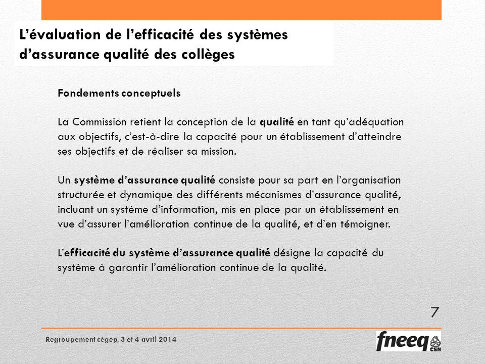 Lévaluation de lefficacité des systèmes dassurance qualité des collèges Fondements conceptuels La Commission retient la conception de la qualité en tant quadéquation aux objectifs, cest-à-dire la capacité pour un établissement datteindre ses objectifs et de réaliser sa mission.