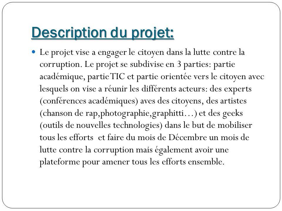 Description du projet: Le projet vise a engager le citoyen dans la lutte contre la corruption.