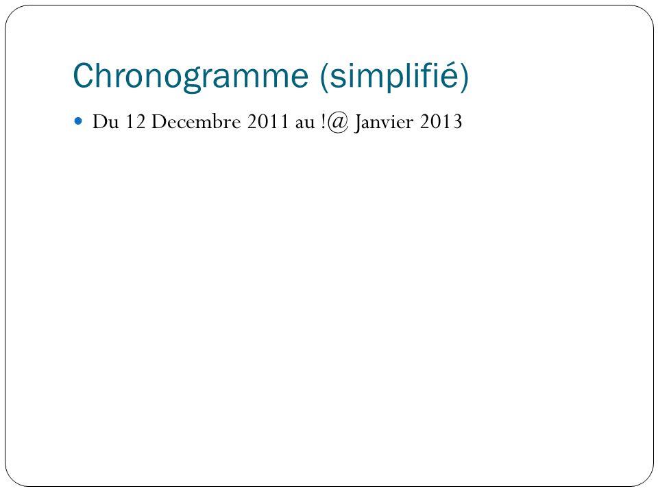 Chronogramme (simplifié) Du 12 Decembre 2011 au !@ Janvier 2013