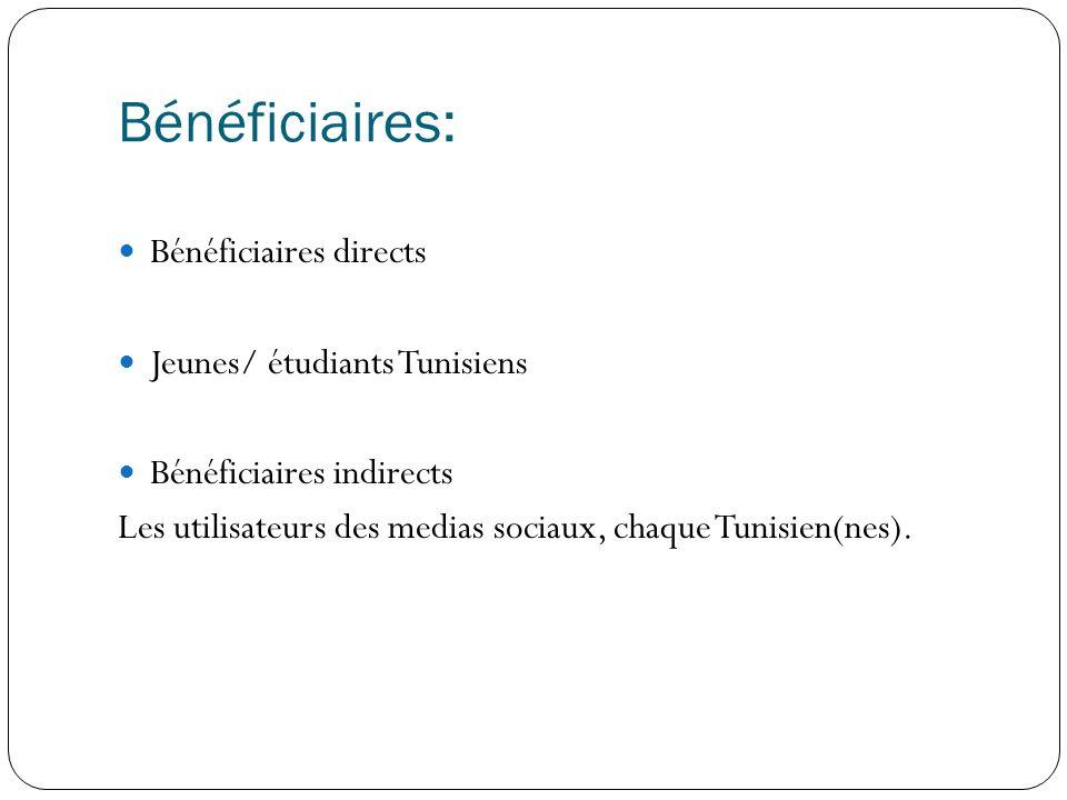 Bénéficiaires: Bénéficiaires directs Jeunes/ étudiants Tunisiens Bénéficiaires indirects Les utilisateurs des medias sociaux, chaque Tunisien(nes).