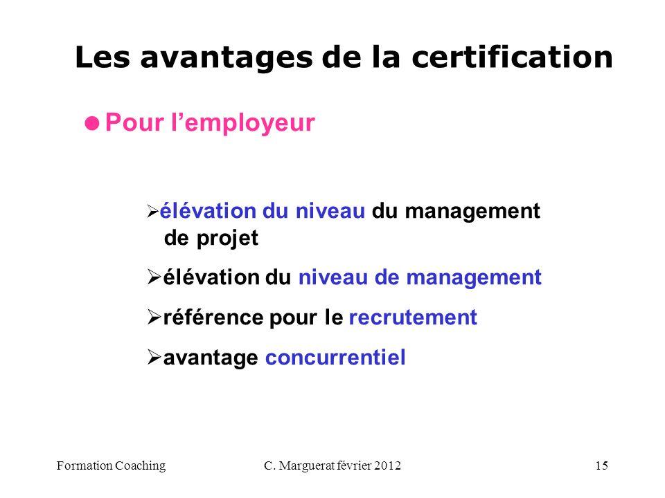 C. Marguerat février 201215 Les avantages de la certification Pour lemployeur élévation du niveau du management de projet élévation du niveau de manag