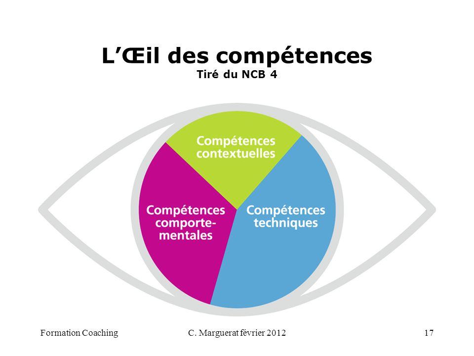 LŒil des compétences Tiré du NCB 4 C. Marguerat février 201217Formation Coaching