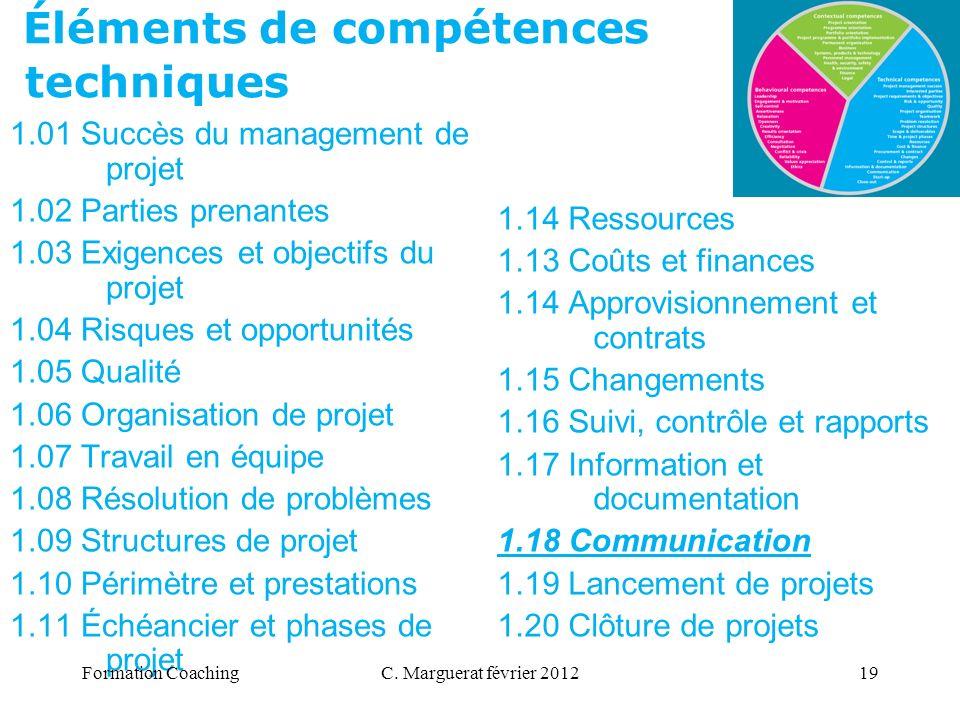C. Marguerat février 201219 Éléments de compétences techniques 1.01 Succès du management de projet 1.02 Parties prenantes 1.03 Exigences et objectifs