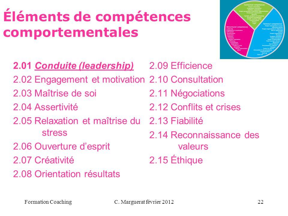 C. Marguerat février 201222 Éléments de compétences comportementales 2.01 Conduite (leadership) 2.02 Engagement et motivation 2.03 Maîtrise de soi 2.0