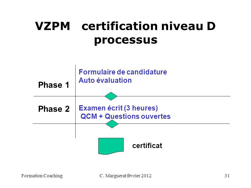 C. Marguerat février 201231 VZPM certification niveau D processus Phase 1 Phase 2 Formulaire de candidature Auto évaluation Examen écrit (3 heures) QC
