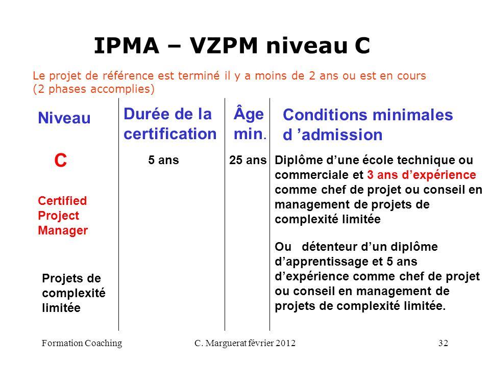 C. Marguerat février 201232 IPMA – VZPM niveau C C 5 ans 25 ans Diplôme dune école technique ou commerciale et 3 ans dexpérience comme chef de projet