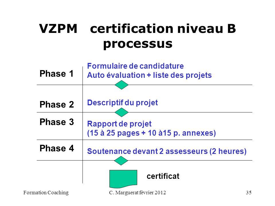 C. Marguerat février 201235 VZPM certification niveau B processus Phase 1 Phase 2 Phase 3 Phase 4 Formulaire de candidature Auto évaluation + liste de