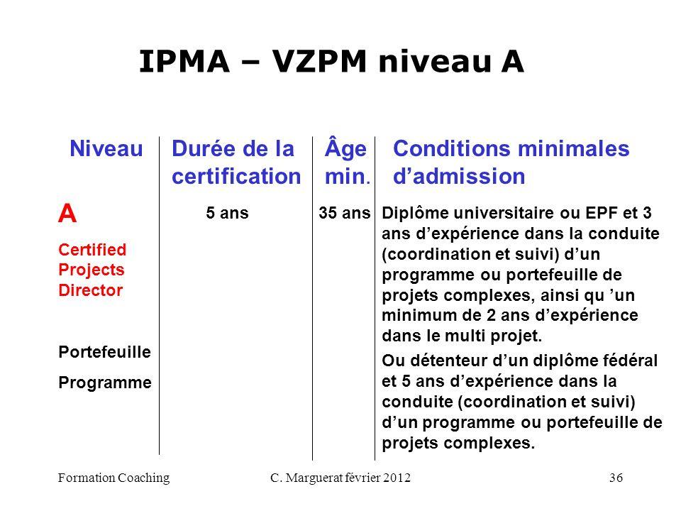 C. Marguerat février 201236 IPMA – VZPM niveau A A Certified Projects Director Portefeuille Programme 5 ans 35 ans Diplôme universitaire ou EPF et 3 a